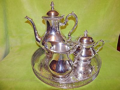 High Quality VINERS Silver Plated 4 Piece Tea Set: Tray, Teapot, Jug, Sugar Bowl