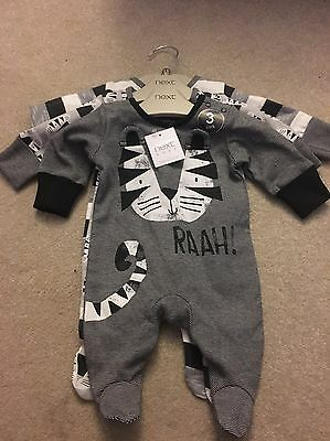 BNWT Next Baby Boys Black/White Cat First Size 3x Sleepsuits/Baby Gros