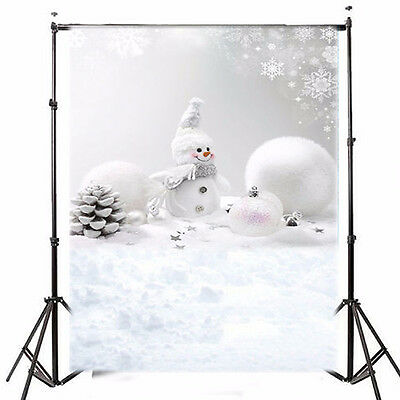 5X7Ft Vinyl Christmas Snowman Photography Backdrop Photo Background
