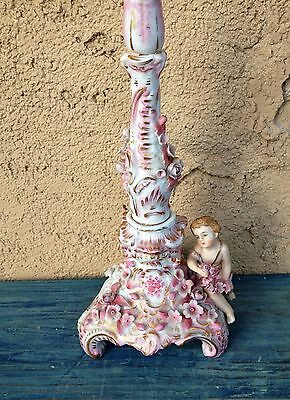 Antique Rococo Porcelain Figural Candlestick Pink Flowers & Girl, Broken