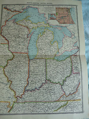 1900/1908 antique map north central USA Harmsworth Universal