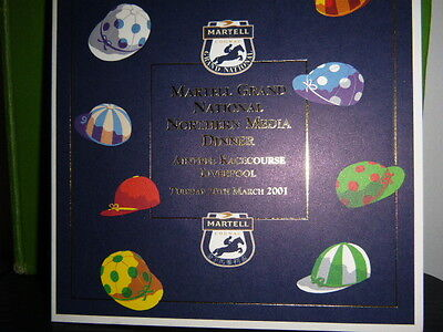 MARTELL GRAND NATIONAL NORTHERN MEDIA DINNER MENU 2001 SIGNED BY GINGER McCAIN
