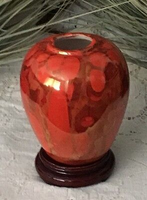Stunning Chinese Orange Color High Gloss Glaze Porcelain Ginger Jar Pot