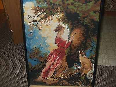 Vintage Antique Victoian NeedlePoint?Crewel Lady and Dog Framed 21x28