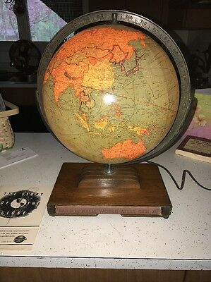 antique globe 12 inch Library Replogle mid century lighted With 1944 Atlas