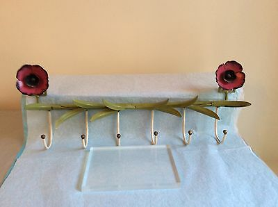 Vintage And Rare Italian Painted Toleware Floral Design Hook Rack With 6 Hooks