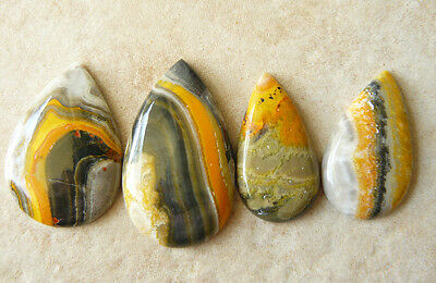 Bumble Bee Jasper 4 tear drop Cabochons 88 Carats see illistration for size comp