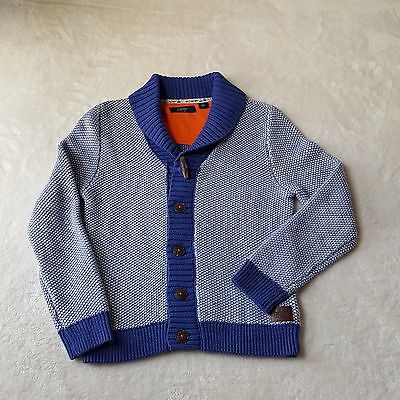 Baker by Ted Baker Humboldt Cardigan Sweater Boys Size 8 Heavy Knit Blue Cotton