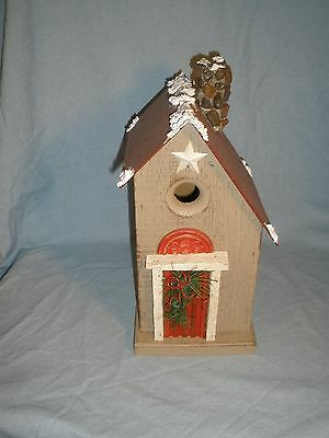 """Nature Creations Hand Crafted Wood Wooden Birdhouse bird house 12"""" tall"""