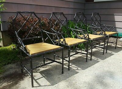 1950 Mid Century Chinese Chippendale Patio Chairs Faux Bamboo Hollywood Regency