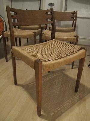 6 x Vintage Retro 1960's Danish Teak Wood Dining Chairs w Woven Fibre Rush Seats