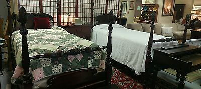 Exquisite Antique Pair Twin Pineapple Four Poster Beds Ex Condition
