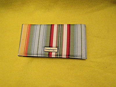 Longaberger CHECKBOOK COVER~Sunflowerl Stripe Check Book Cover w/Card Insert~NEW