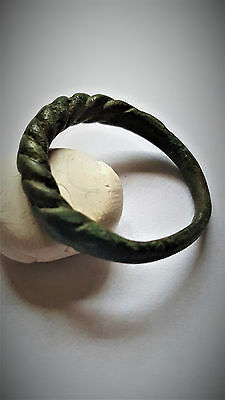 Ancient Bronze Viking Twisted Ring 8-10 Ad