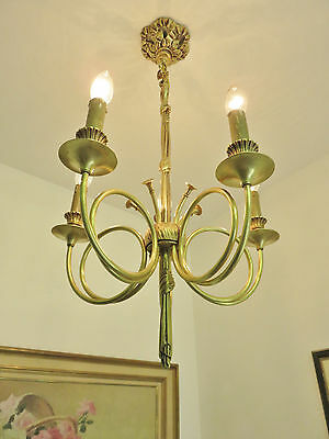 Stunning Vintage French Trumpet Chandelier Light Quality Bronze Louis Xvi Style