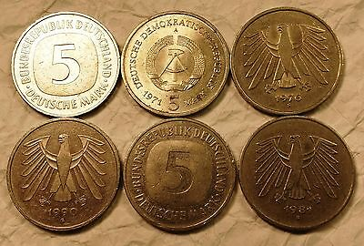6 Coin Lot of Germany 5 Mark Coins
