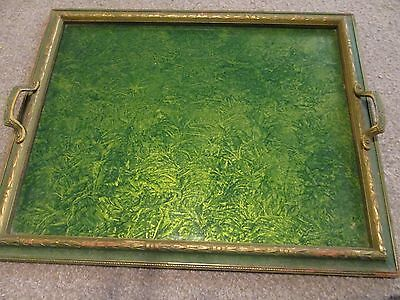 Vintage Antique Wooden Tray With Glass Top And Metal Decorative Handles