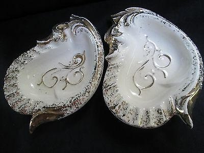 Vintage Ashtray Set (2) Made In The Usa Ceramic White With Gold Trim