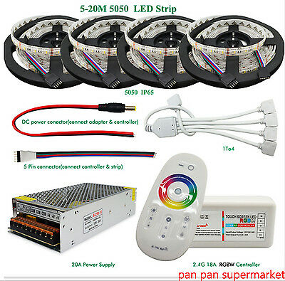 4 in1 RGBW LED Strip 5050 SMD DC12V Flexible 60leds/m+2.4G RF Controller+Power