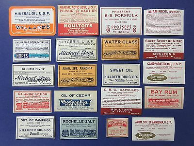 20-Old Pharmacy Drugstore-Apothecary-Medicine Bottle Old Label Lot-Vintage=