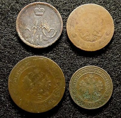 1, 2, 3 Kopeks 1864, 1884, 1898 & 1900 - 4 Imperial Russia Copper Coins (#653)