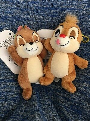 New Disney Store Japan Chip Dale Plush Badge Keychain 2 set cute