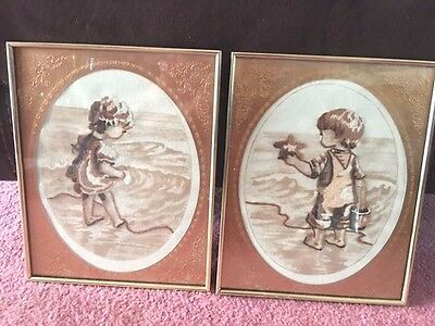 Boy and Girl At the Beach, Framed and Matted, Free Shipping
