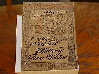 1773 2O Shilling Pennsylvania Colonial Note,xf-Au,unusually Well Inked
