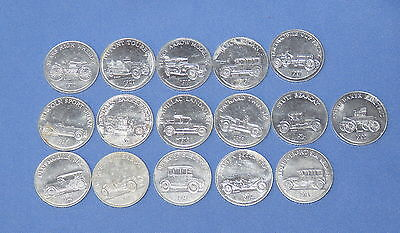 Sunoco Oil Gasoline Antique Car Series game - 16 coins tokens, vintage 1968
