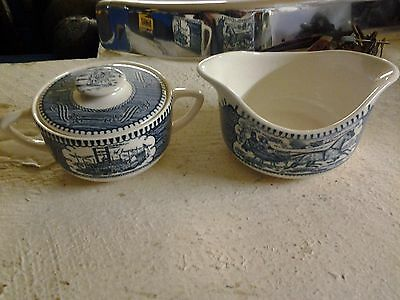 vintage currier and ives suger bowl and gravy boat