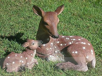 Deer and fawn garden ornament cement plaster craft latex moulds molds