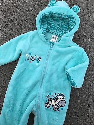 Size 000 (0-3M) ~ MANGO ~ Green Zip Front Fluffy Hooded One-Piece Suit ~ AS NEW!