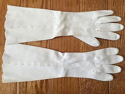 """Vintage White Long 13"""" Gloves From the 1950's"""