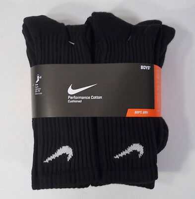 Nike Socks Boys/Youth 6 Pair Crew Black Shoe Size 5Y-7Y Sock Size L Made in USA
