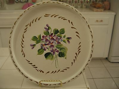 Beautiful Vintage Round Tole Ware Metal Tray With Hand Painted Violets Nashco