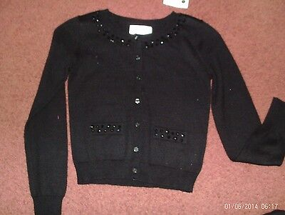 justice - girls size  12 black rhinestone cardigan sweater nwt