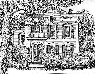 CUSTOM HOUSE PORTRAIT, Original Pen and Ink Drawing of Your Home from photos