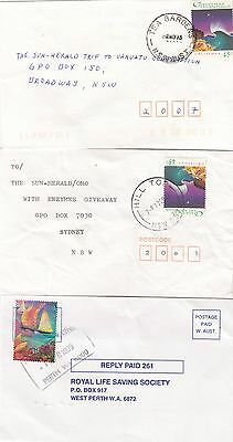 Christmas Cocos Keeling Islands Stamps Solo Usages on Domestic Commercial Covers