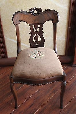 Antique French Carved Wood Needlepoint Louise XVI Side Chair