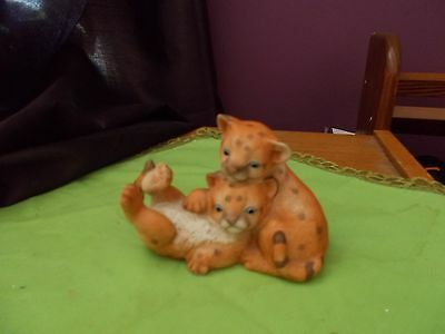 Curious Cougars Porcelain Masterpiece Figurine by Homco Dated 1993