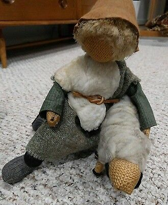 Folk Art burlap doll- shephard with sheep
