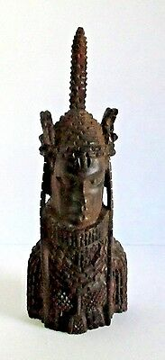 Antique Vintage African Tribal Wood Carving Warrior Nigerian Elaborate Statue