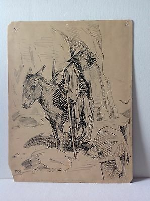 Antique Pulitzer prize winner Rollin Kirby pen Ink drawing illustration cartoon