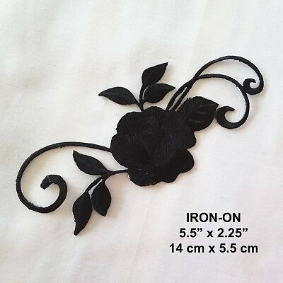 Black Rose Flower Cosplay Iron-on Embroidered Floral Badge Patch Dress Applique