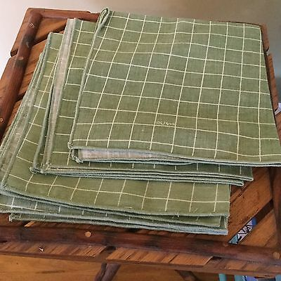 Vintage Vera Green and White Check Design, Napkins, Set of 4