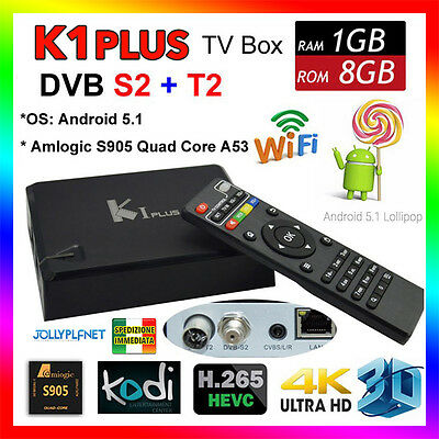 K1 Plus Android 7.1 Quad Core boîte Smart TV DVB-S2 DVB-T2 S905D