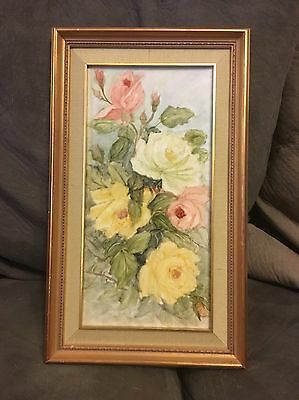 Vintage Rose Hand Painted Tile Framed Perfect Condition !!!