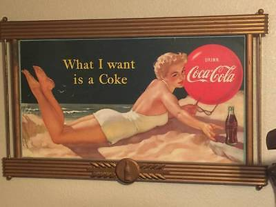 "1940's ""What I want is a Coke"" Original Framed advertising sign, rare."