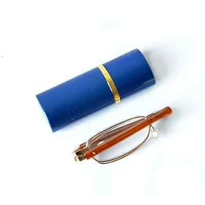 Free Ship Men Women Foldable Metal Reading Glasses 1.00-4.00 With Tube Case