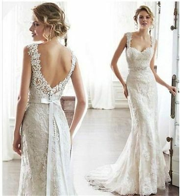 Stock New White/Ivory Lace Wedding Dress Bridal ball Gown Size 6 8 10 12 14 16